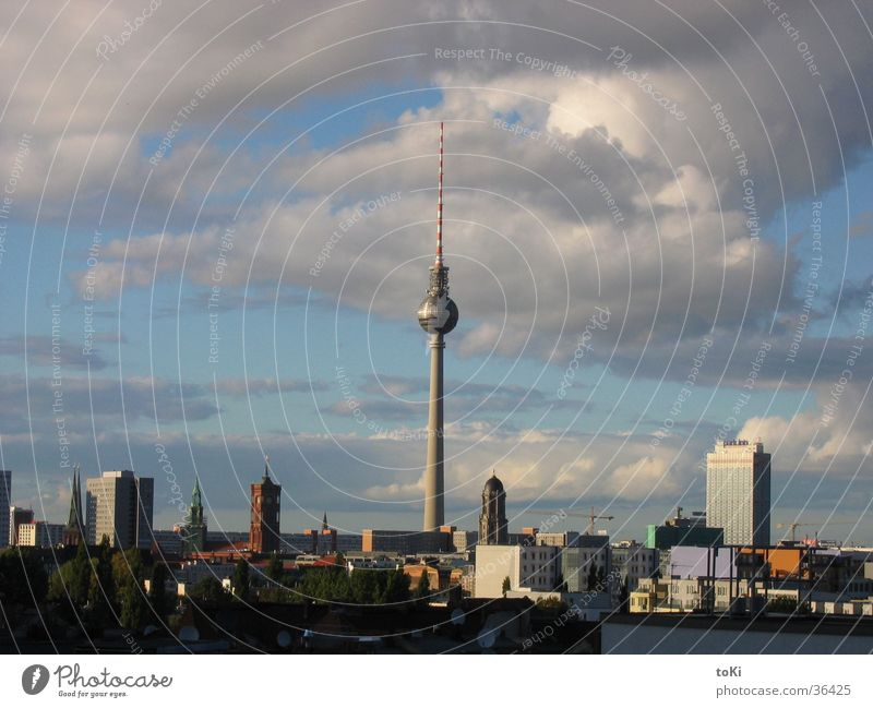 television tower Afternoon Berlin Landmark Monument Communicate Berlin TV Tower cloudy oranienplatz max taut house Shadow marzano luca marzano toki