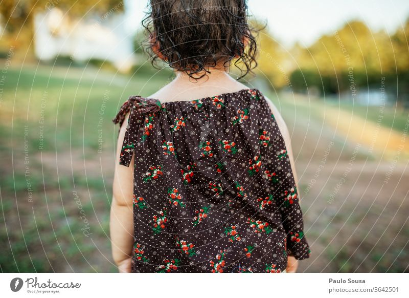 Rear view child Caucasian 1 - 3 years Toddler Human being Infancy Child 3 - 8 years Day Exterior shot Girl Playing Joy Summer Colour photo Kindergarten