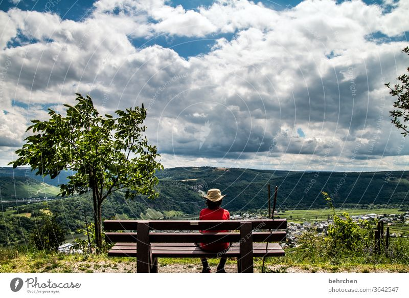 Look into the country hikers Mountain Environment Exterior shot Nature Summer Clouds Sky Son Hiking Landscape Adventure Vacation & Travel Colour photo Bench