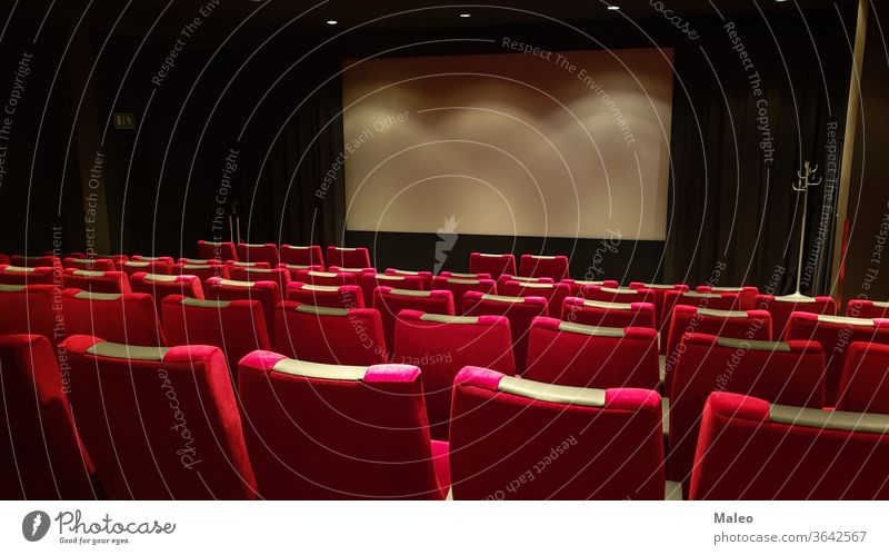 Empty cinema hall, cinema screen and row of red sits theater film auditorium empty seat movie audience chair interior show indoor nobody seating conference