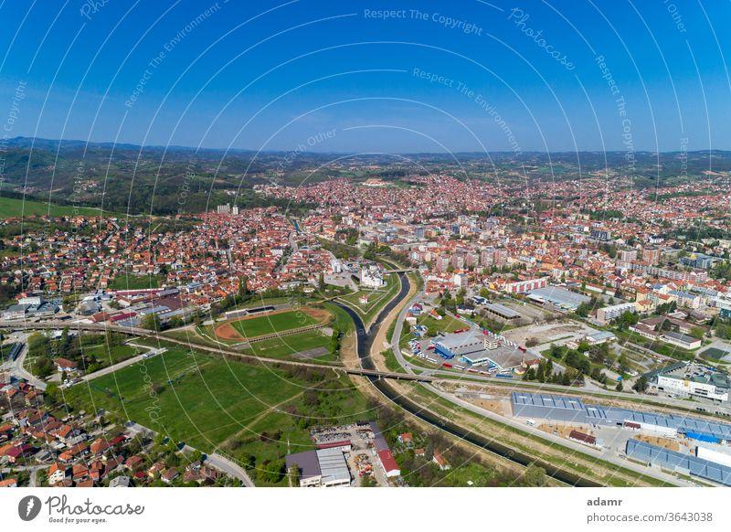 Valjevo, Aerial view panorama of City in Serbia Kolubara Gradac Balkan Europe travel landscape spring environment green outdoors aerial city sky history