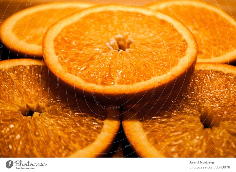 Freshly cut circular slices of orange abstract background circle citrus closeup color dessert diet eat eating food fresh freshness fruit fruits health healthy