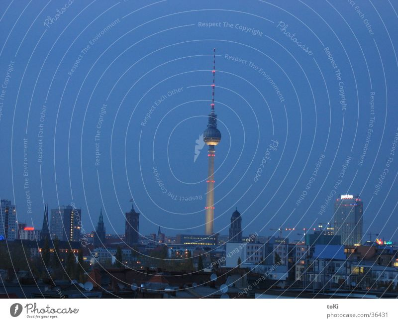 television tower Night Dark Berlin Landmark Monument Communicate Berlin TV Tower Evening Blue marzano luca marzano toki
