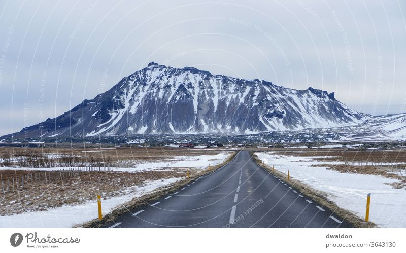 Iceland Road road country road snow winter march highway mountain field Country road Winter Street Exterior shot Mountain Colour photo Snow Landscape Deserted