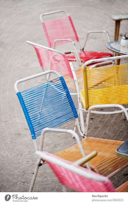 Everything ready for the high season City trip Summer Chair Table Restaurant Going out Eating Berlin Old Hip & trendy Trashy Town Multicoloured Café