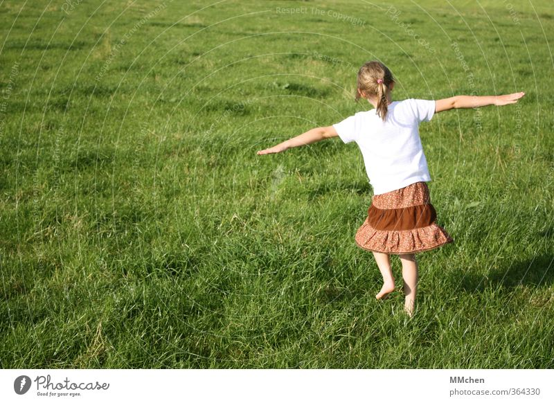 Dancing little girl on a green meadow Children's game Dance Girl 1 Human being 3 - 8 years Infancy Meadow Movement Flying Happy Green Joy Happiness Life