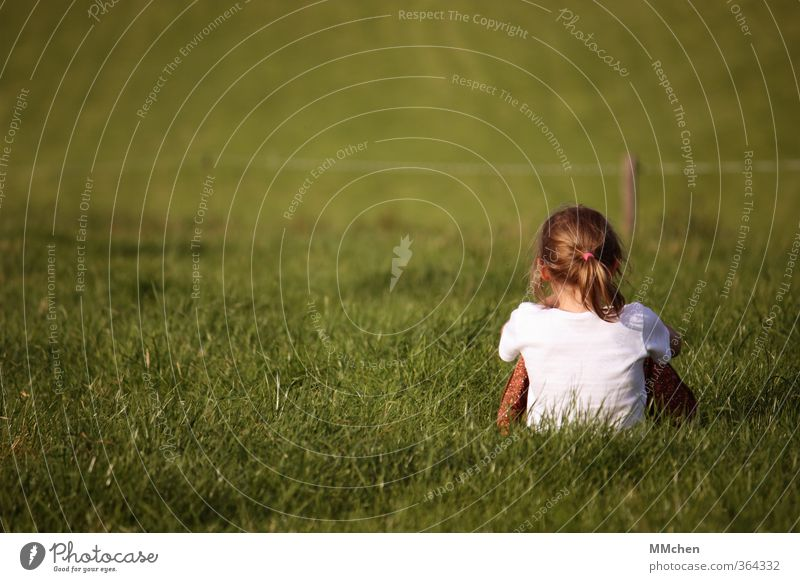 Human being Child Nature Green Relaxation Girl Calm Meadow Feminine Grass Garden Infancy Power Earth Sit Contentment