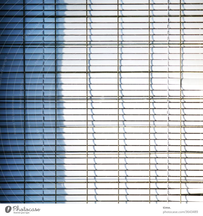 closed shop Venetian blinds sunny Shadow lines Closed Wait Metal Whimsical safeguarded Inspiration Window Parallel Gray urban Complex Protection Safety tired