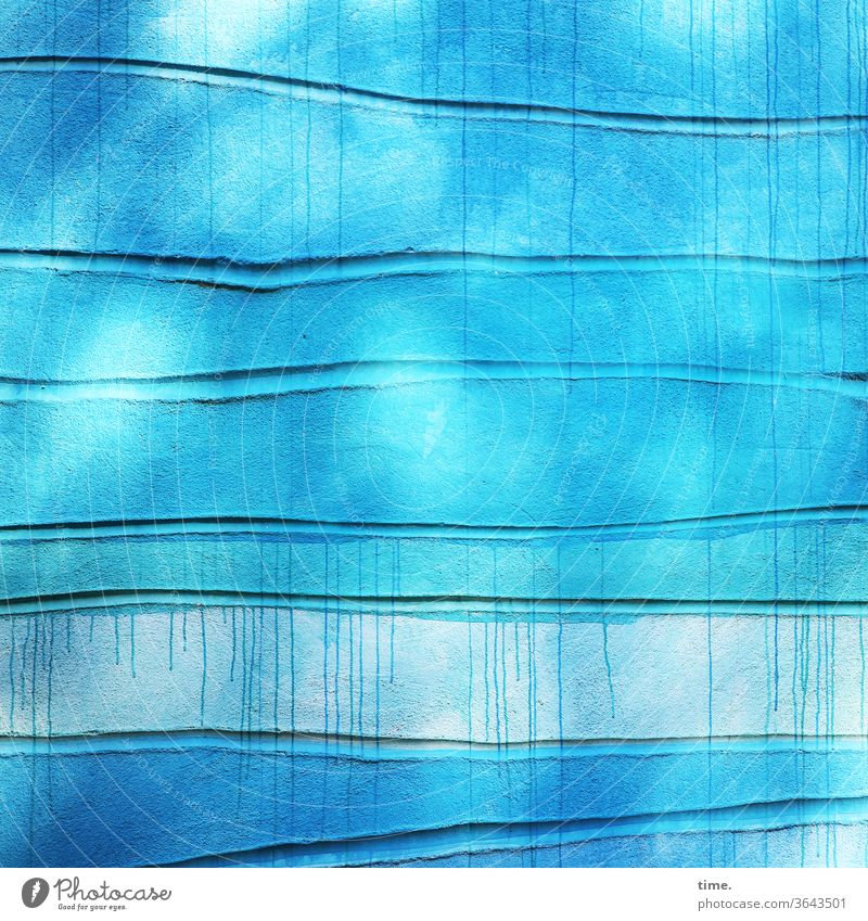 Lifelines #137 detail Surface Parallel squeeze Impression texture Tracks Uneven Blue turquoise Wall (building) Wall (barrier) Art design Tourist Attraction