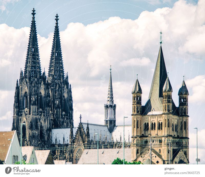 Cologne church towers - Cathedral and Groß Sankt Martin Cologne Cathedral Gross St. Martin church Skyline Dome Tourist Attraction Landmark Town Exterior shot