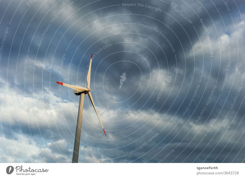 Wind Energy Wind energy plant Clouds Energy industry electricity Industry Renewable energy Sky Environment ecologic Technology Eco-friendly Alternative