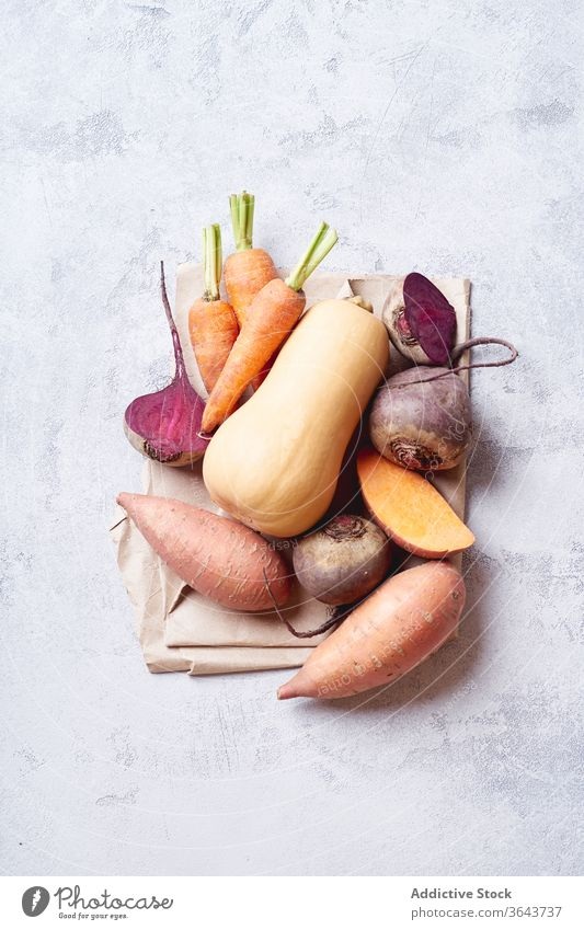 Fresh vegetables prepared for cooking. food season produce vegetarian healthy natural carrot above raw green ingredient butternut squash beetroot nature vegan