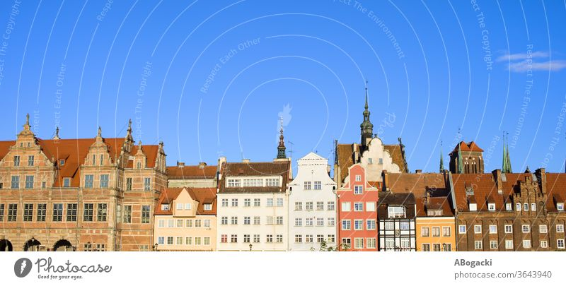 City Skyline of Gdansk Panorama in Poland apartment architecture attraction building city classic culture danzig decorative europe exterior facade gdansk