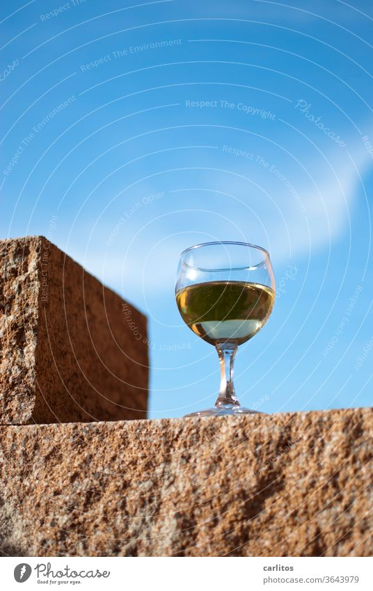 in vino veritas I Vine Glass Colour Stone Perspective Sky Blue Alcoholic drinks Wine glass Drinking Feasts & Celebrations Beverage Lifestyle Party
