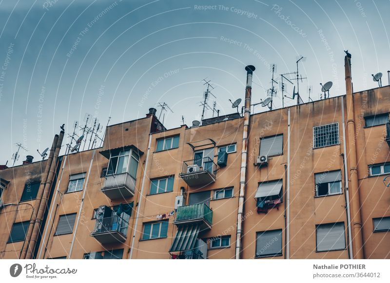 Building in the suburbs of rome old city antennas Colour photo House (Residential Structure) Capital city Exterior shot Old building Facade Architecture windows