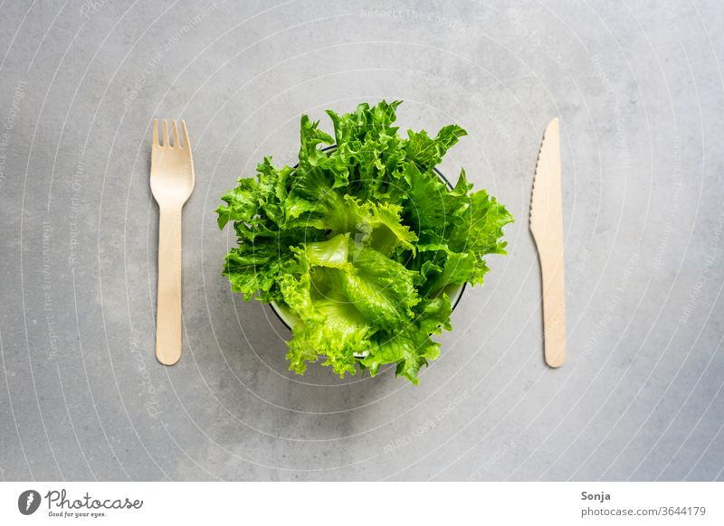 Fresh green salad in a bowl with wooden cutlery. Lettuce Vegetable Organic produce Interior shot Delicious Lunch Diet Healthy Colour photo Nutrition Fork Dinner