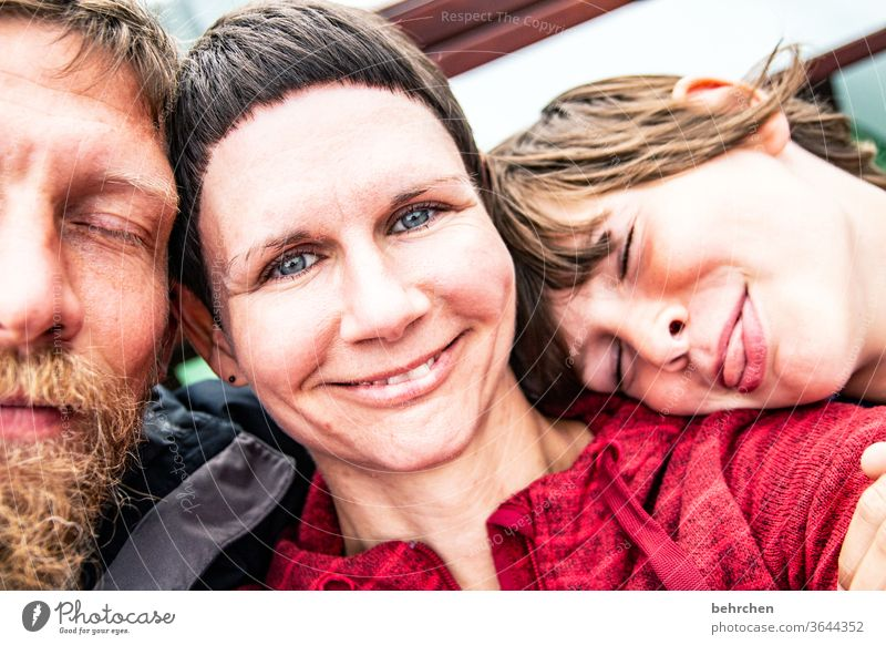 happy family Colour photo Sympathy natural Man Woman Face Attachment Selfie portrait Protection Trust Safety (feeling of) vacation dad mama Happiness Joy