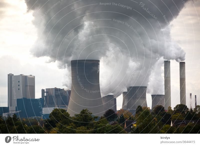 Coal-fired power plants, lignite-fired power plant Niederaussem Lignite power plant Lignite-fired power station RWE Climate change Cooling towers