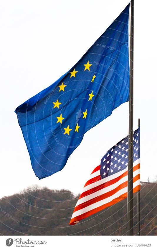 Flag of the European Union against the flag of the United States of America EU USA Flags united states of america Identity Americas Wind Blow policy