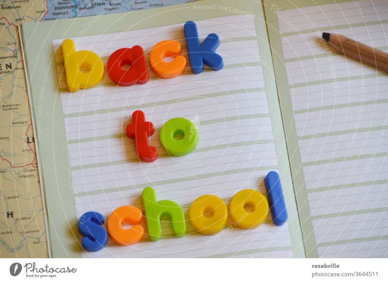 magnetic letters BACK TO SCHOOL on notebook and school utensils | printed product | a little freely interpreted Letters (alphabet) School start of school