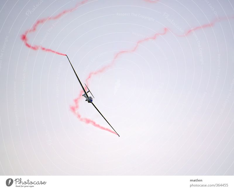 very quiet Transport Vehicle Aviation Airplane Sailplane Flying Red Black White Ease Colour photo Subdued colour Exterior shot Aerial photograph Deserted