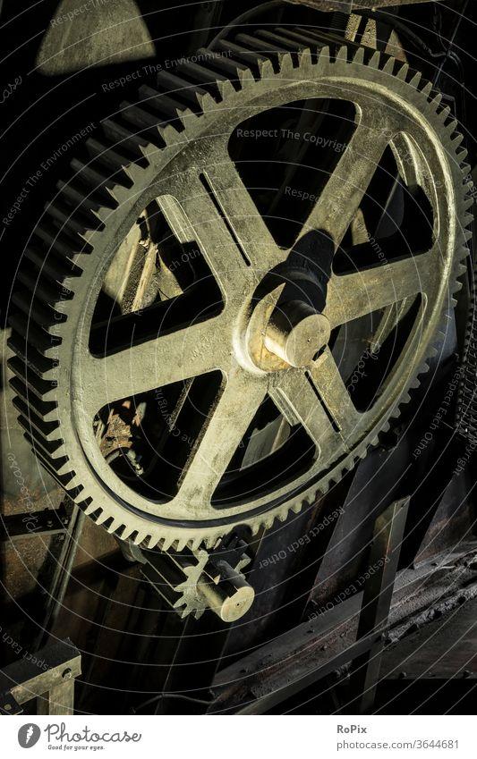 Historical spur gear in a mine. Gear unit Gearwheel gearing gearbox Mechanics technique Machinery machine structure dovetail cogwheel gearwheel clockwork