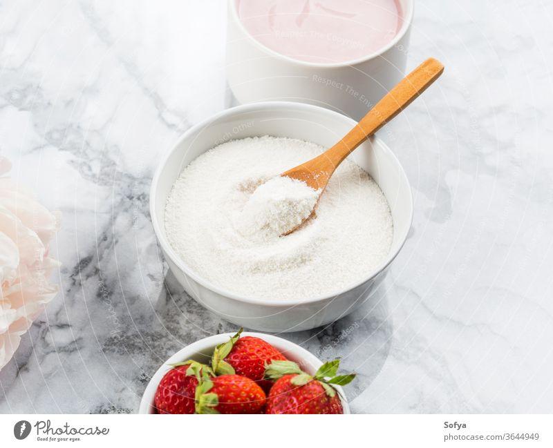 Collagen protein powder in bowl on marble collagen supplement yogurt food healthy beauty nutrition strawberry pink face collagen powder anti age female woman