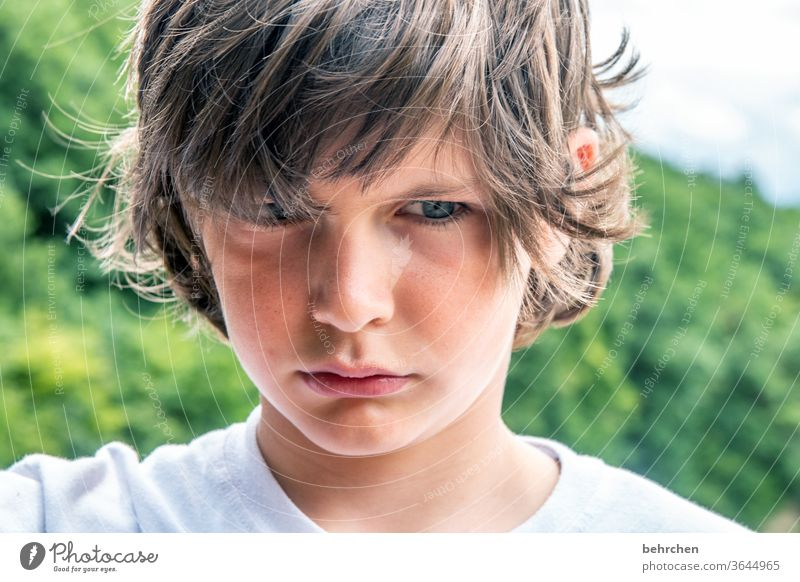 whoa, leave it alone! Colour photo Family Exasperated blue eyes Close-up Child Boy (child) Infancy Face Day Light Contrast portrait Sunlight Hair and hairstyles