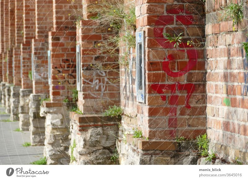 Wall old historical prison wall Summer berlinmitte Wall (barrier) street urban cities cell moabit Wall (building) Facade Town Exterior shot Old Deserted
