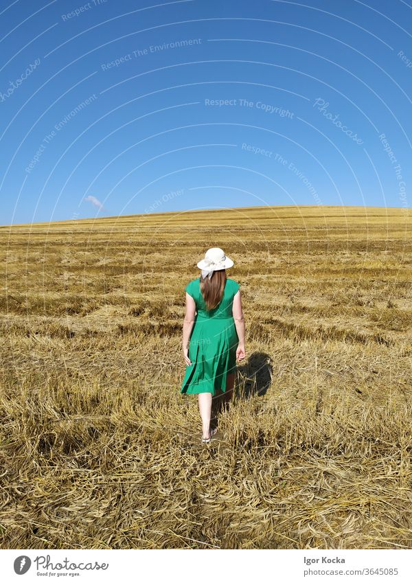 Rear View Of Woman Walking On Land Field Rear view Summer Clear sky Green Dress Hat Meadow Landscape Beautiful weather Freedom Lifestyle Copy Space