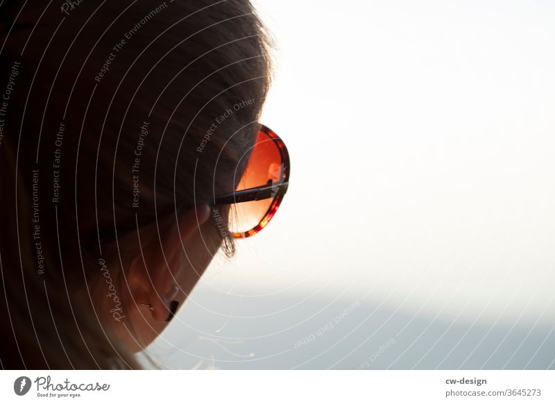 Favourite person with sunglasses in the sunshine Woman happy fortunate luck portrait Colour photo smile Joy Human being Happiness Lifestyle Looking Young woman