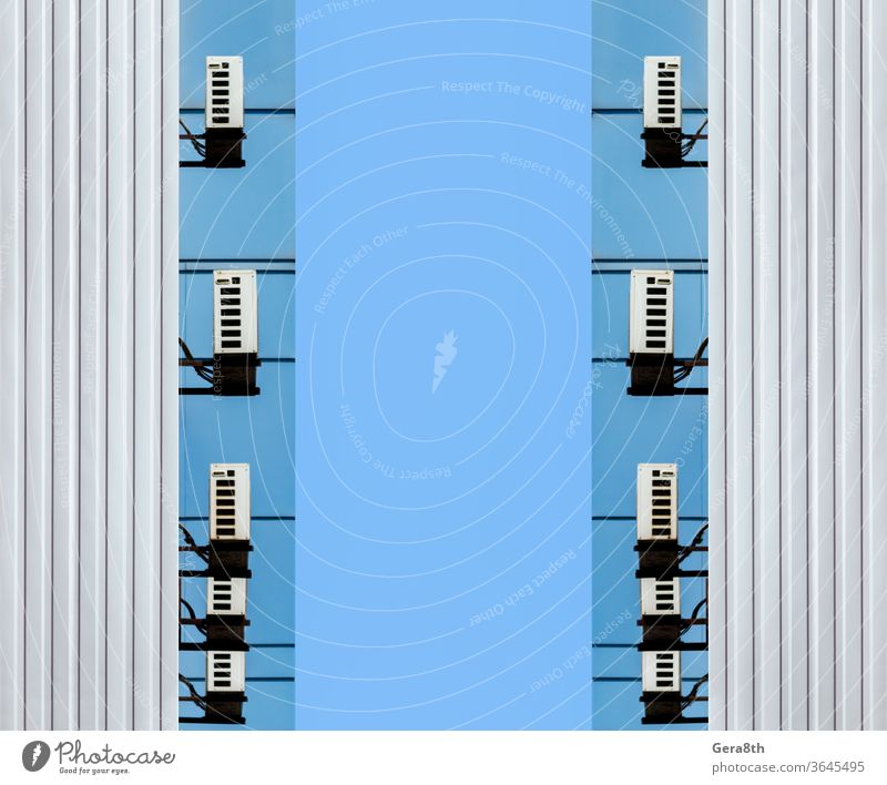 identical walls of an office building business abstract air conditioning architecture background blue city concept construction design digital electronic empty