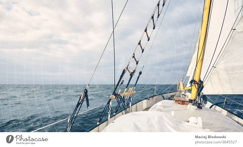 Panoramic view of an old schooner sailing the ocean. boat adventure water sea freedom horizon travel vacation mast deck no people nautical ship yacht transport