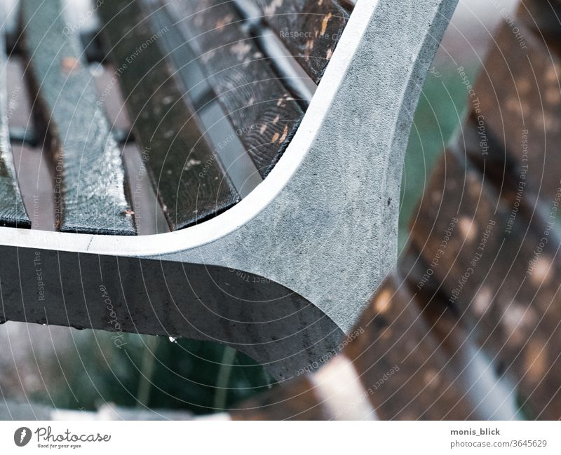 Park bench cut-out in the rain Exterior shot Relaxation Loneliness Thundery shower tranquillity silent weaker by virtue of the silence rest Rain raindrops