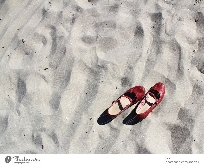 Sand in the shoe Summer Beach Red Calm Footwear Barefoot Relaxation Expressionless Colour photo Exterior shot Day
