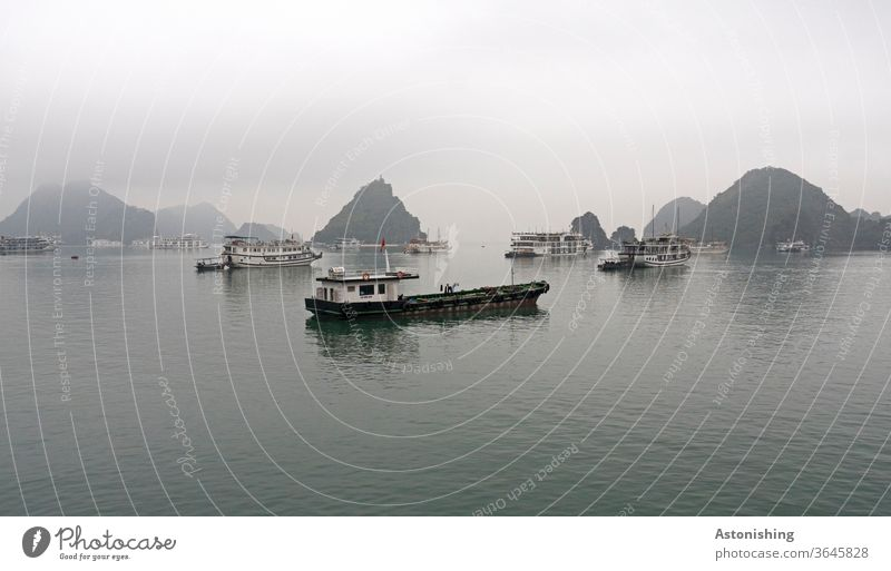 Boats in Halong Bay, Vietnam boats Navigation ship Many Rain Weather Exterior shot Colour photo Water chill Black conceit Copy Space top Fog Exotic Shadow