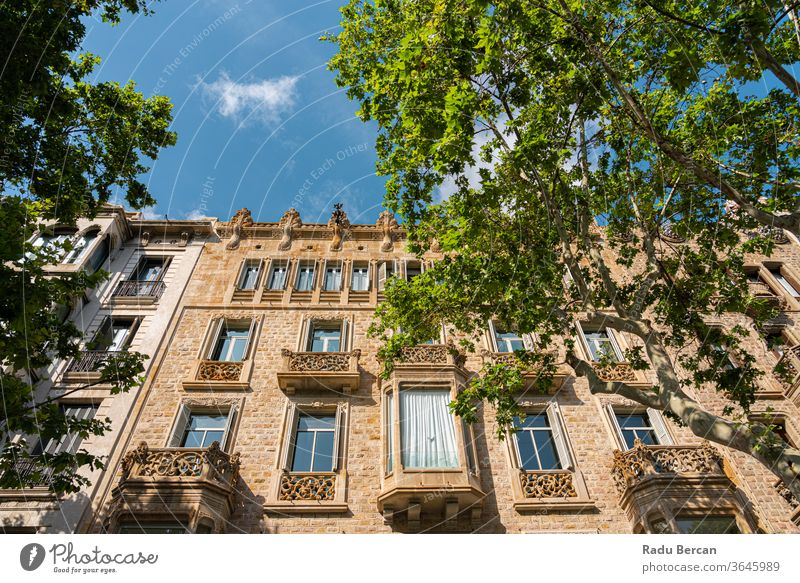 Beautiful Facade Building Architecture In City Of Barcelona, Spain spain barcelona spanish landmark europe town architectural catalonia street urban ancient