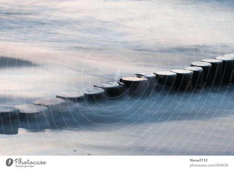 Smoke on the water Environment Nature Landscape Water Waves Coast Beach North Sea Baltic Sea Fluid Gray Break water Seabridge Zingst Darss Flow Colour photo