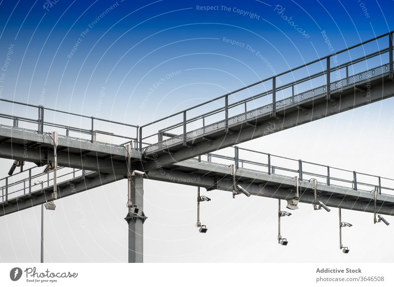 Metal construction with road cameras control surveillance security traffic cctv metal contemporary structure urban modern steel design system safety