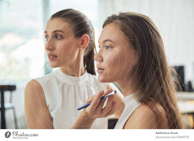 Crop stylist applying eyeliner on model visagiste brush makeup studio eyebrows focus concentrate client young occupation cosmetic care work serious skill