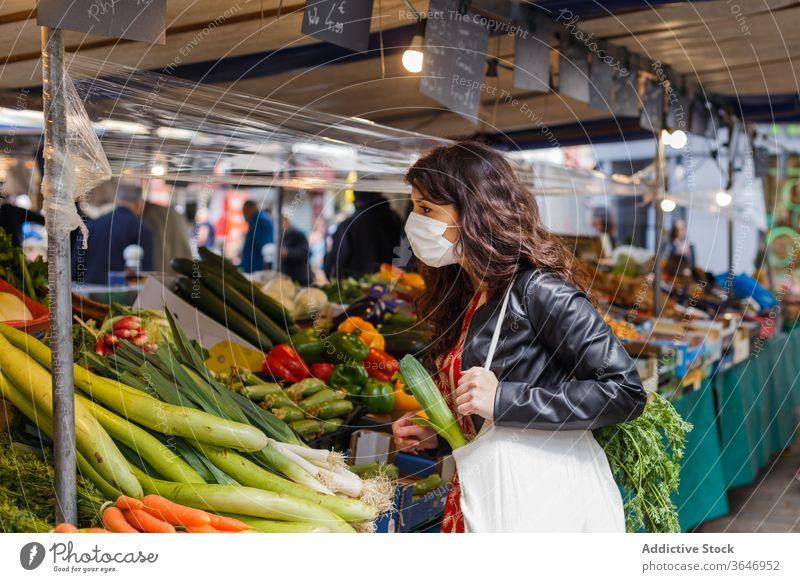Woman shopping on vegetable market woman shopper sack local farm pick eco fabric reusable eco friendly female fresh grocery bag food organic purchase customer