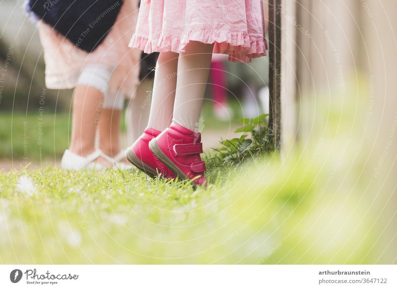 Child stands on tiptoe in front of a fence children Infancy wax girl people Growth come of age Playing Curiosity Small Nature Summer Joy high up youthful