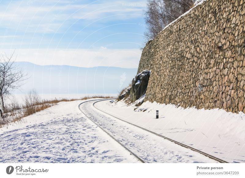 Winter tunnel on the Circum-Baikal Railway railway lake rails siberia asia day eastern engineering landscape mountain nature old road rock russia scenic snow