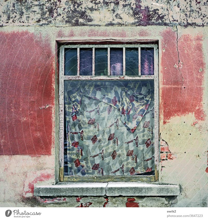 suspended Window Old Facade House (Residential Structure) daylight Deserted Exterior shot built Architecture Wall (building) Transience Stone Broken Change
