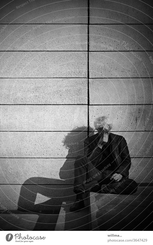 time-out Man White-haired Sit reflection Concentrate rest relax meditate Exhaustion Stress burnout Relaxation Human being Balance Fatigue Break Shadow stagger