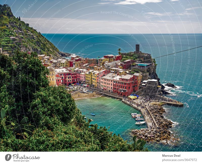 Town of Vernazza in Cinque Terre, Italy with Ligurian sea and horizon in background italy summer colourful colorful colours water mediterranean ligurian