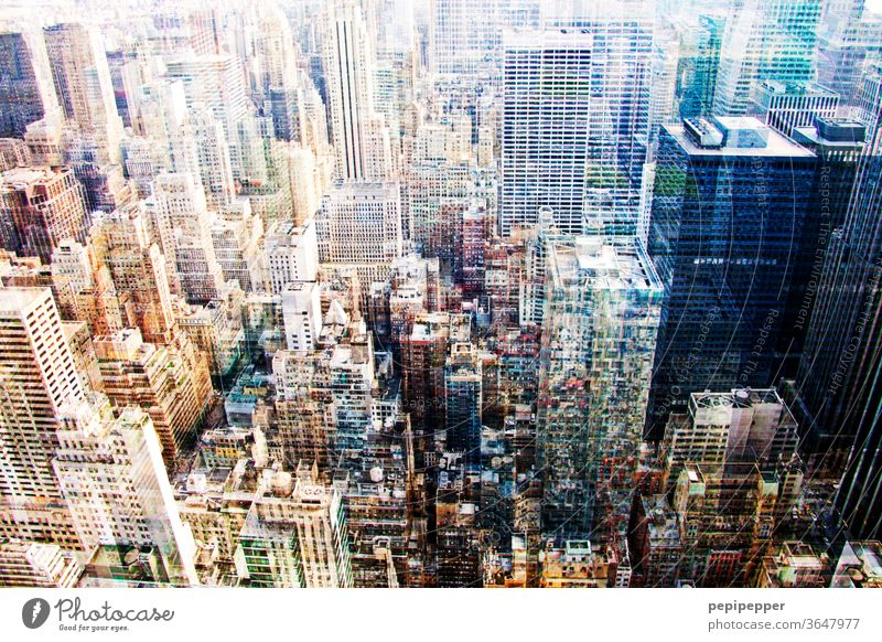 New York from above - multiple exposure New York City USA Manhattan Town Skyline High-rise City life Americas skyskraper Freedom American Megacity Road traffic