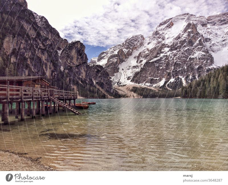 Pragser Wildsee with landing stage and mountains Prags Wildsee Dolomites Lake mountain lake Mountain Nature Vacation & Travel Italy Trip Tourism South Tyrol