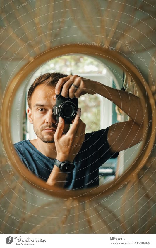mirror image in mirror with mirrorless Man Selfie camera Take a photo Mirror Mirror image Human being Interior shot Reflection Photographer