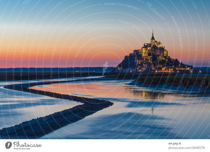Le Mont-Saint-Michel at the blue hour France Mont St Michel Island Tourist Attraction Normandie monasteries monastery mountain Church Blue Vacation & Travel